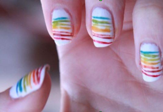 Nail Art Semplici: Unghie Arcobaleno