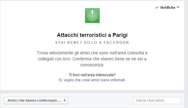 "Attacchi Terroristici a Parigi, Su Facebook: ""Stai bene?"""