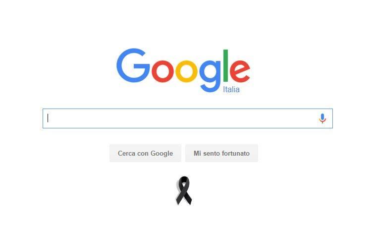 Google a lutto per i morti di Parigi: fiocco nero sotto barra di ricerca