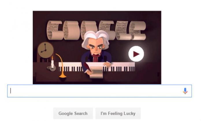 Doodle Google di oggi 17 dicembre dedicato a Beethoven