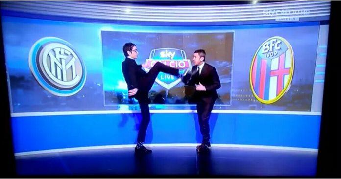 Cattaneo calcio in faccia a Costacurta (Video)