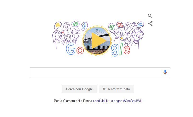 Doodle Google di oggi 8 Marzo dedicato alla Festa della Donna