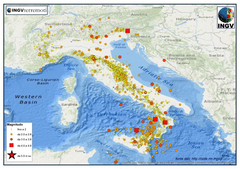 terremoti ingv lista in tempo reale scosse di oggi 21