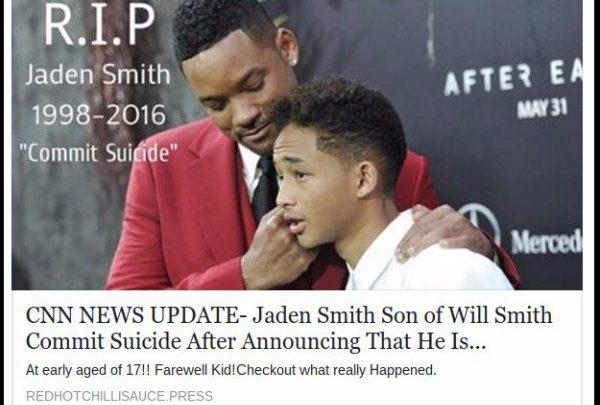Figlio Will Smith suicidato: ma è una Bufala