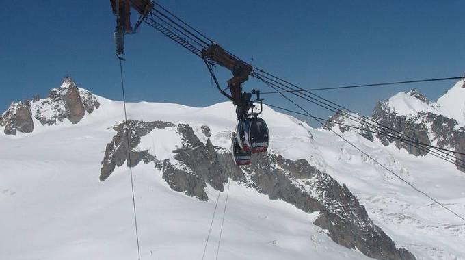 Monte Bianco Funivia bloccata, tutti in salvo i turisti