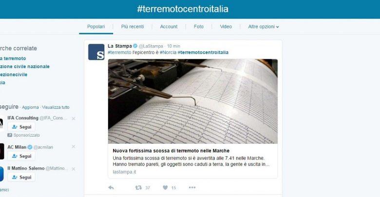 Terremoto 30 ottobre nel Centro Italia: live tweet