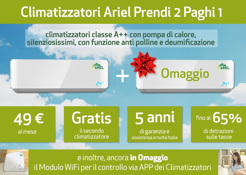 Ariel energia condizionatori prezzo e opinioni for Prezzi caldaie ariel