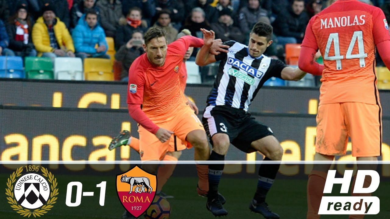 Video Gol Udinese-Roma 0-1: highlights, sintesi e tabellino