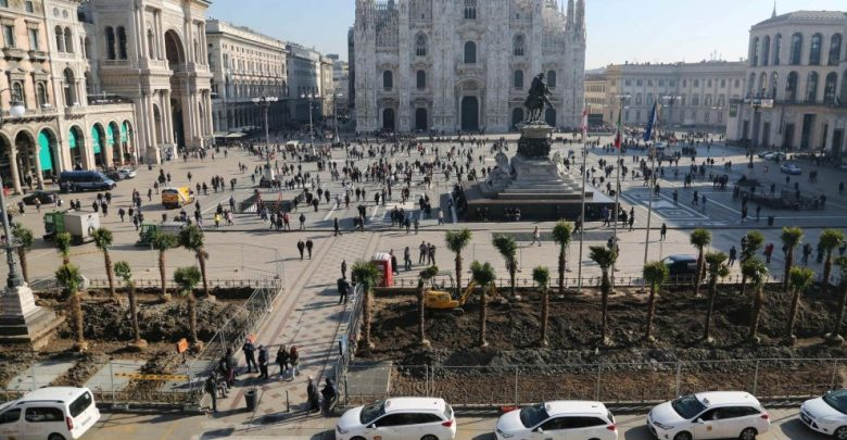 Milano, palme e banani in Piazza Duomo (foto) 2
