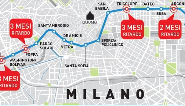 Milano, Linea Metro 4: La mappa dei ritardi sui lavori