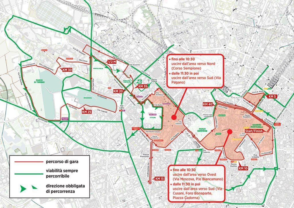 Maratona di Milano strade chiuse