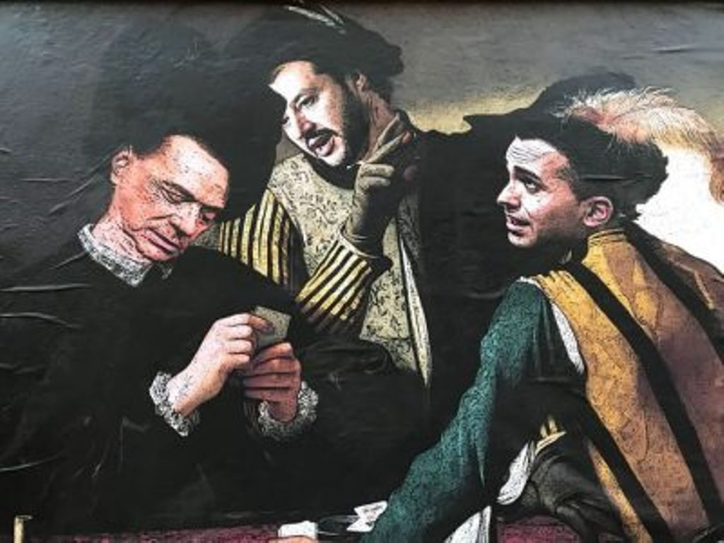 Murales Salvini-Berlusconi-Di Maio