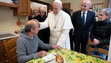 Pope Francis during his visit to a center for Alzheimer patients in Rome