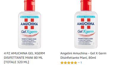 Photo of Amuchina Gel Mani in vendita su Amazon a 30 € a flacone